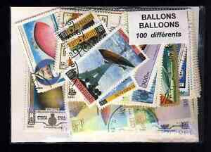Ballons-et-Dirigeables-Airship-100-timbres-differents-obliteres