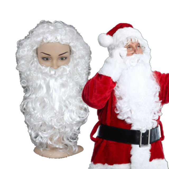 70a33ed673df3 Christmas Fancy Santa Claus Curly Wig + Beard Set Costume Party Dress  Accessory