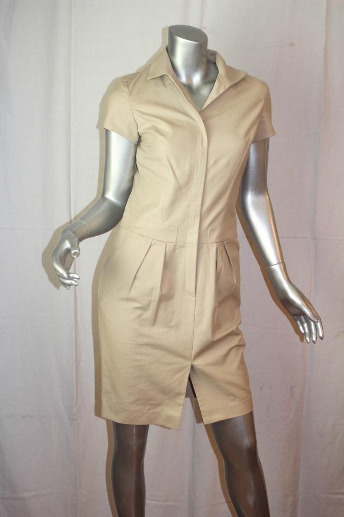 Womans LAFAYETTE 148 Beige Zip Up Short Sleeve Cotton Dress Größe 0