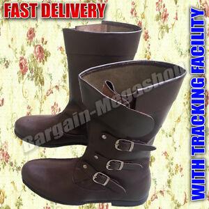 Medieval Botas de Piel Zapatos Hombre Representación Disfraz Equitación BVC1