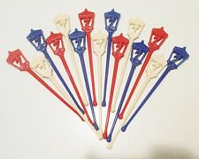 Vtg Seagram's 7 Crown Lantern Swizzle Sticks Patriotic Holiday Colors Set of 15