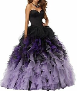 cf84b4fdbc7 Organza Ball Gown Quinceanera Dresses Contrast Puffy Long Prom Gown ...