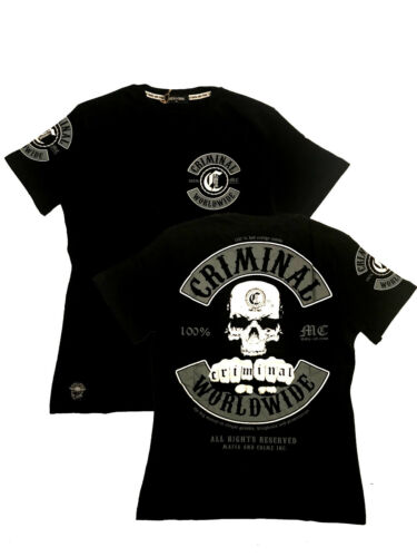 Black Grey White Mafia and Crime Criminal Worldwide MC Herren T-Shirt Patch