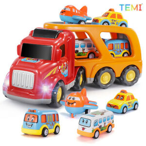 TEMI Diecast Carrier Truck Toys Educational Cars Set for Children 3+ Years