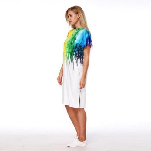 Woman Short Sleeve dress Colorfull Paint Printed O neck Split dress S-XL dress