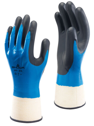 1 Pair Of SHOWA 377 Fully Coated Nitrile Foam Grip Gloves Wet /& Oily Size 7//M
