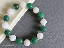 Green Banded Agate White Frosted Veined Agate & Sterling Silver Stretch Bracelet