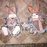 Mt19903 Bunny Dressed Easter On Swing Hanging Spring Table Decoration Farm