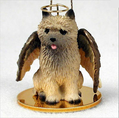 Cairn Terrier Dog Figurine Ornament Angel Statue Hand Painted Red