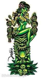 Girl-With-Shrunken-Heads-On-Green-Tiki-Sticker-Decal-Artist-Big-Toe-BT35