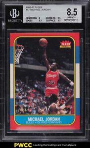 1986 Fleer Basketball Michael Jordan ROOKIE RC #57 BGS 8.5 NM-MT+
