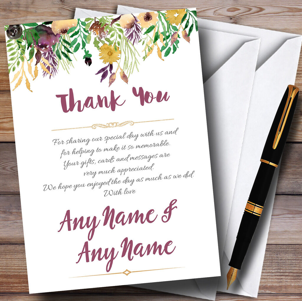 Autumn Plum Watercolour Floral Header Personalised Wedding Thank You Cards