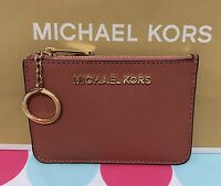 Michael Kors Leather Sm Top Zip Coin Pouch With Id In Antique Rose $98