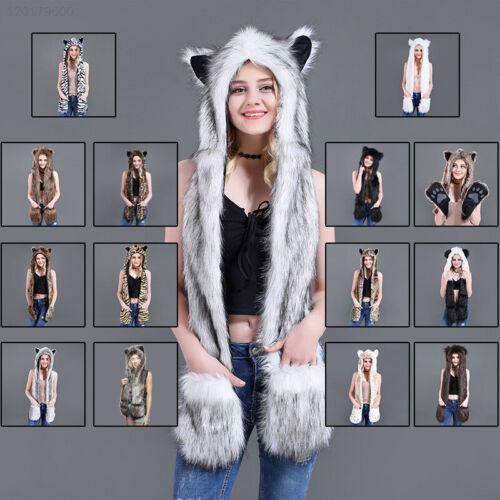 BC7D Faux Fur Animal Hat Winter Scarf Shawl Glove New Snow Cap