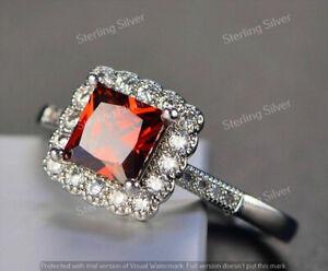 2.50 Carat Princess Cut Red Garnet & Diamond Halo Ring In 14K White Gold Finish