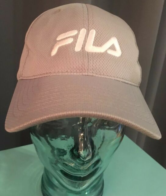 b02a455c Light Gray Mesh Fila Hat Ball Cap Lined Adjustable Strap Unisex Adult One  Size