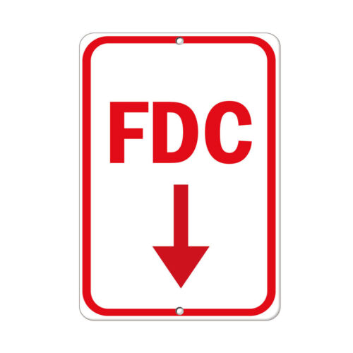 Vertical Metal Sign Multiple Sizes Fdc Downward Pointing Arrow Hazard Fire