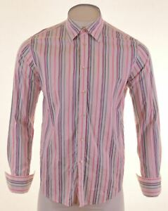 TED-BAKER-Mens-Shirt-Size-4-Large-White-Striped-Cotton-IE07