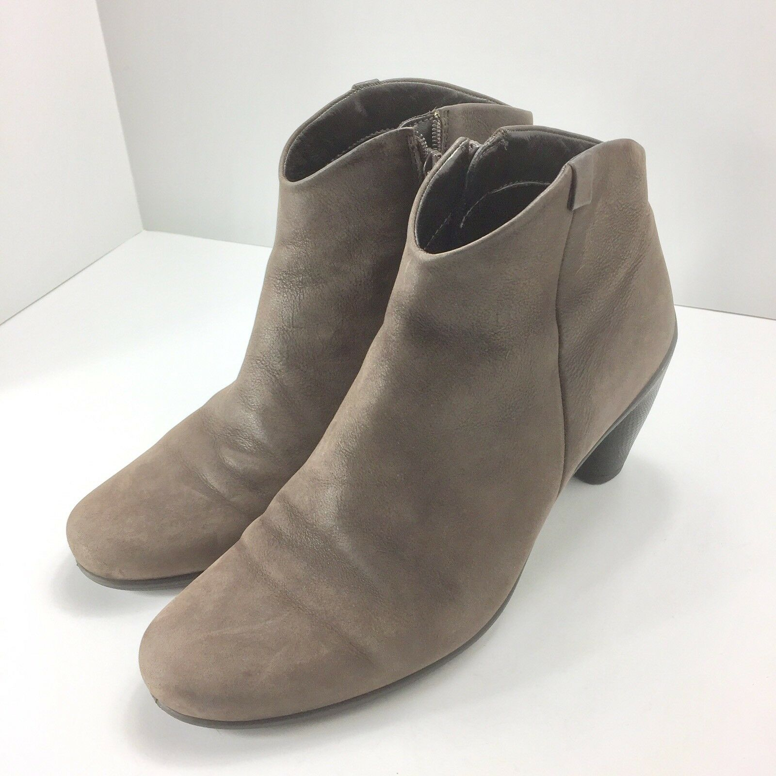 Ecco Womens Suede Ankle Boots Booties Size Euro 41 US 9.5 Brown