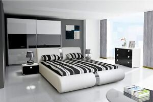 Image is loading HIGH-GLOSS-SUPER-KING-SIZE-STORAGE-BED-BEDROOM- & HIGH GLOSS SUPER KING SIZE STORAGE BED BEDROOM SET