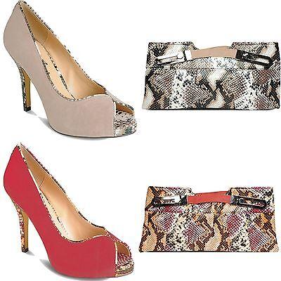 Ladies Peep Toe Snake Skin Pattern Smart Evening Women's Heels Clutch Bag
