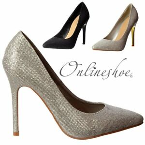d8dae60d040 Womens Low Mid Heel Pointed Toe Glitter Court Party Shoes Silver ...