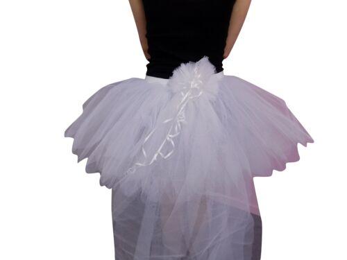 NEON WHITE 8 LAYER TUTU SKIRT BUSTLE 80S FANCY DRESS HEN PARTY FUN RUN BRIDE