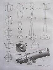 1797 GEORGIAN PRINT ~ TELESCOPE MICROMETER EYEPIECE DIAGRAMS LENSES etc
