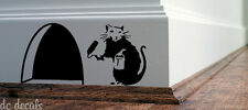 BANKSY RAT Hole Wall Art Sticker Vinyl Decal Mice Home Skirting Board Funny