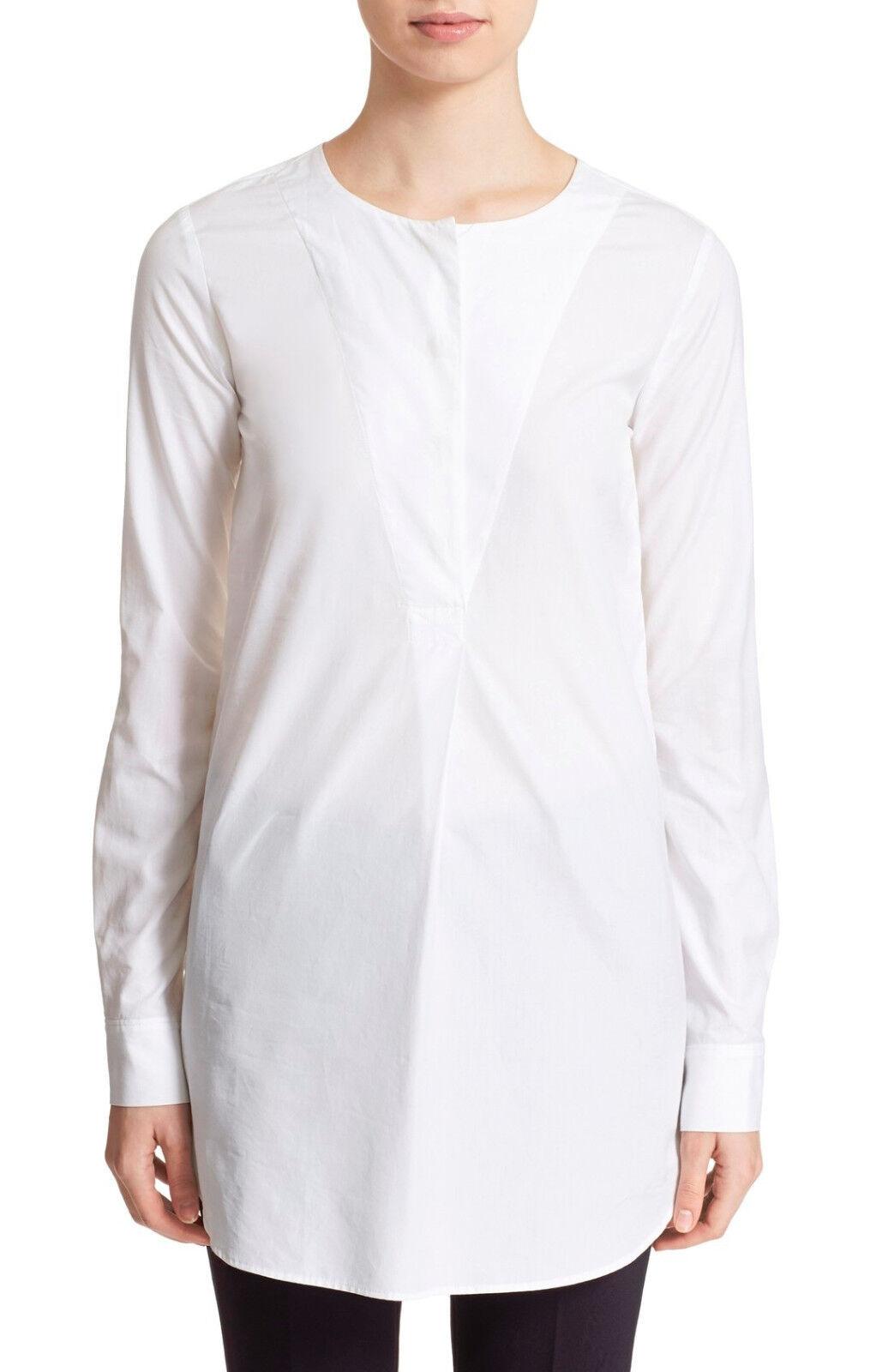 Woherren Theory Weiß TILLFIN SARTORIAL Button Popover Shirt Top, Sz S