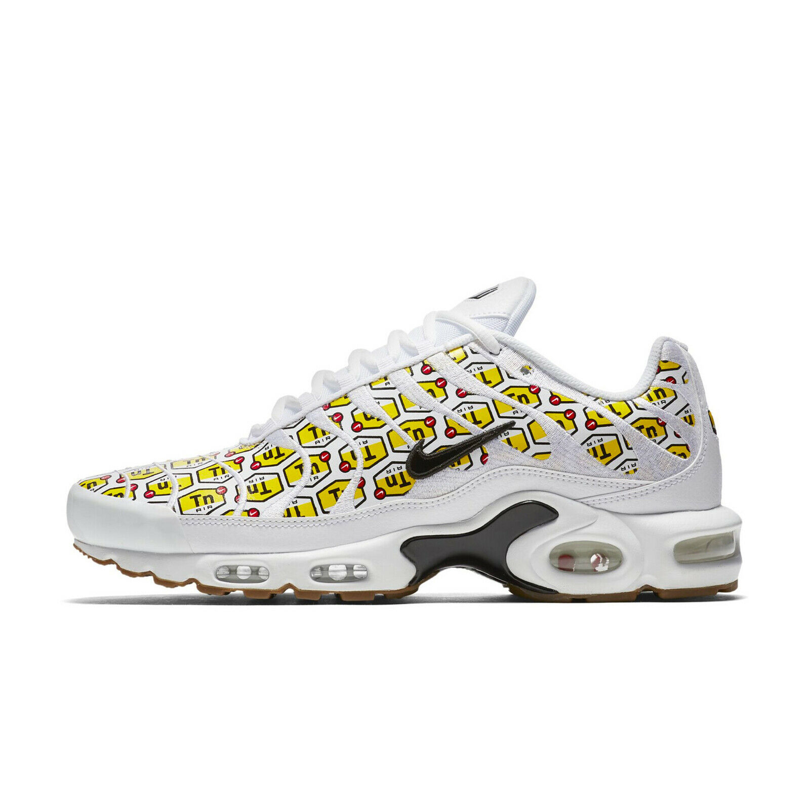 Nike Air Max Plus QS All Over Print White Black Yellow Gum 903827-100 Multi Size