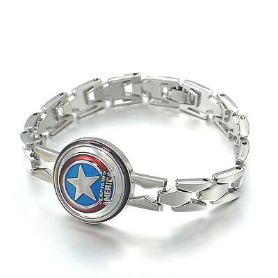 New Cosplay The Avengers Captain America Metal Silver Tone Vintage Bracelet Gift