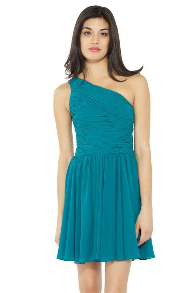 Halston Heritage One Shoulder Gathered Short Dress Teal 295 Ruched Pleated Mini