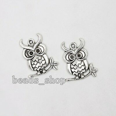 20pcs Antique Silver Alloy Animal Owl Shape Pendants Charms Jewelry Findings BS