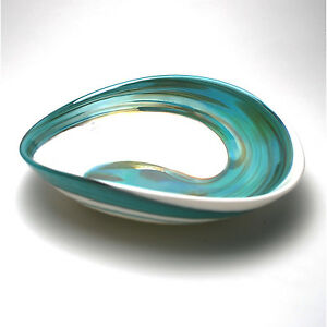 "HOME DECOR - ""AEGEAN SEA"" MURANO GLASS TRAY - IVORY / TEAL GREEN - 7"" X 5"""