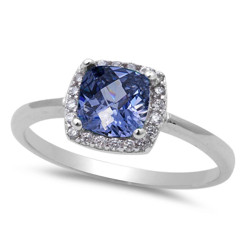 Tanzanite 925 Tanzanite: Tanzanite & CZ Fashion .925 Sterling Silver Ring Sizes 4-10