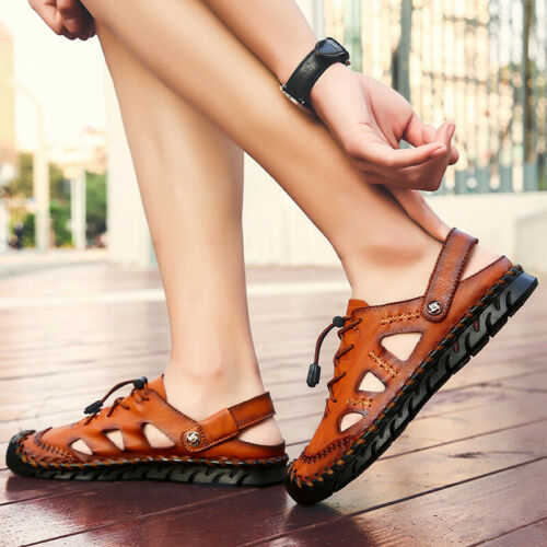 Summer Men/'s Leather Sandals Shoes Sport Casual Outdoor Hiking Beach Slippers