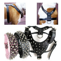 Black Spiked Studded Leather Dog Harness & Collar Set For Pitbull Bully Boxer Us