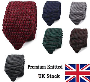 High-Quality-Men-039-s-Fashion-Tie-Knit-Knitted-Tie-Slim-7cm-Wide-Woven-Pointed-UK