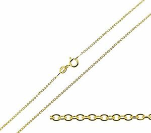 9ct-Gold-Plated-on-Sterling-Silver-16-24-034-inch-1mm-Fine-Trace-Chain-Necklace