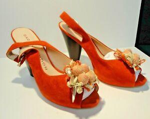 Red peep toe sling pumps, vintage look
