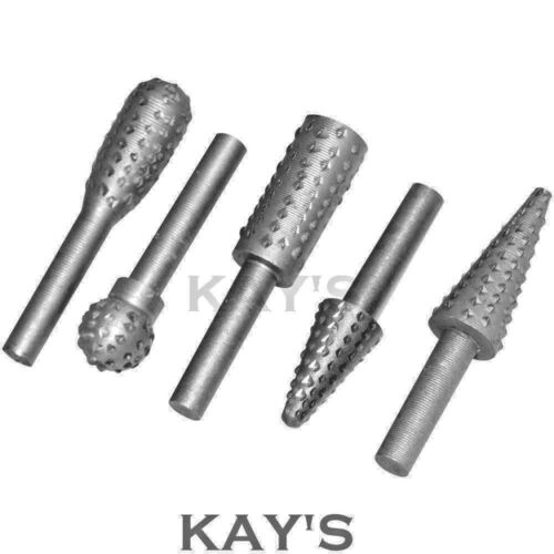 ROTARY BURR SET 5 PIECE SET CONE CYLINDER BALL OVAL CARVING WOOD RASP FILE BITS