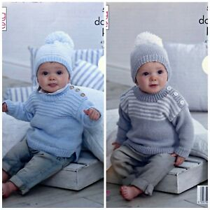 6a20e2517 Baby KNITTING PATTERN Baby s Striped Jumpers   Hats DK King Cole ...