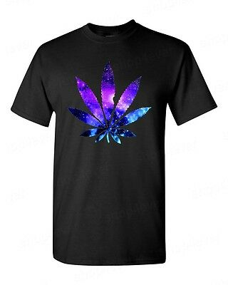 Galaxy WEED Leaf T-SHIRT kush stoner marijuana cosmos pot leaf men's tee
