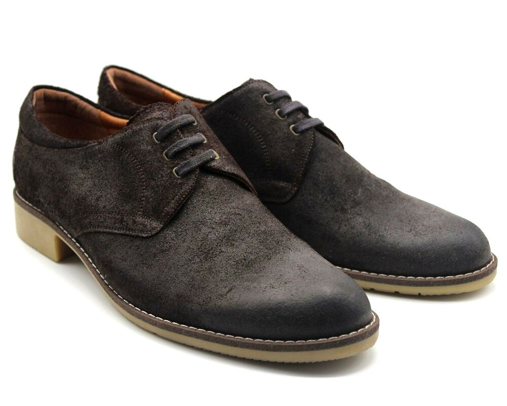 * 111 Uk 11 Mens Brown Real Suede Chaussures De Loisirs Waxed Lacets Week-end De Travail Ue 45