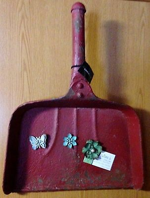"""Clearance!-Vintage Red-Lg. 20"""" Metal Dust Pan Magnet Memo Board w/3 Magnets"""