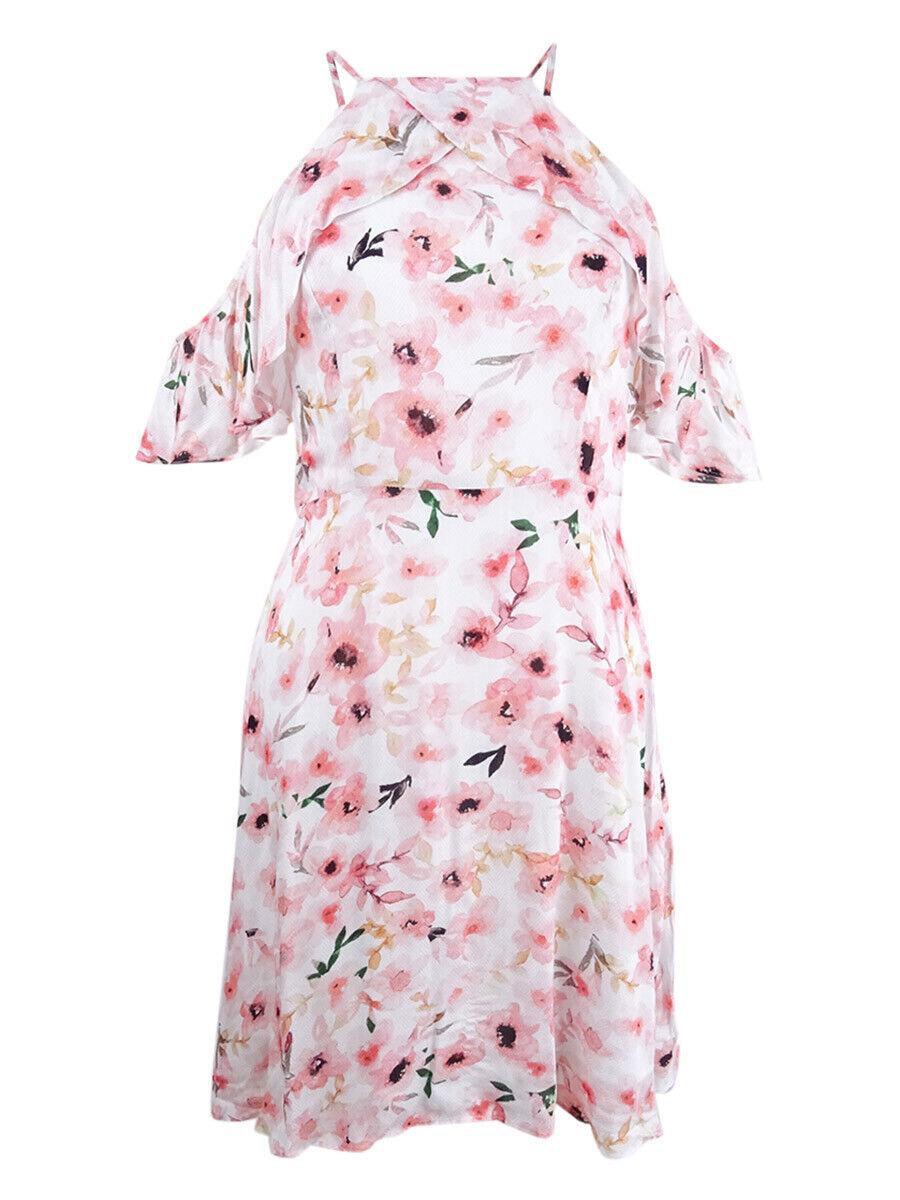 CeCe Woherren Floral-Print Ruffled Halter Dress