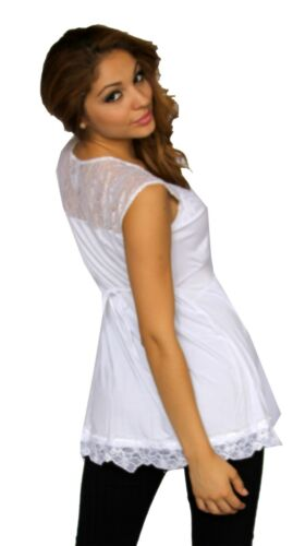 White Lace Maternity Pregnancy Top Short Sleeve Solid Work Attire Elegant
