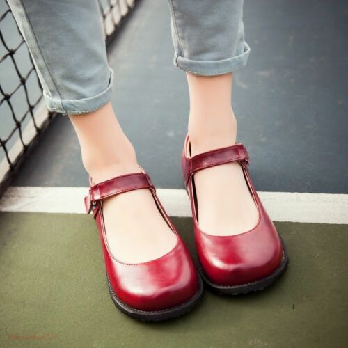 Lolita Womens  Flats Vintage Round Toe Shoes Cute Ankle Strap