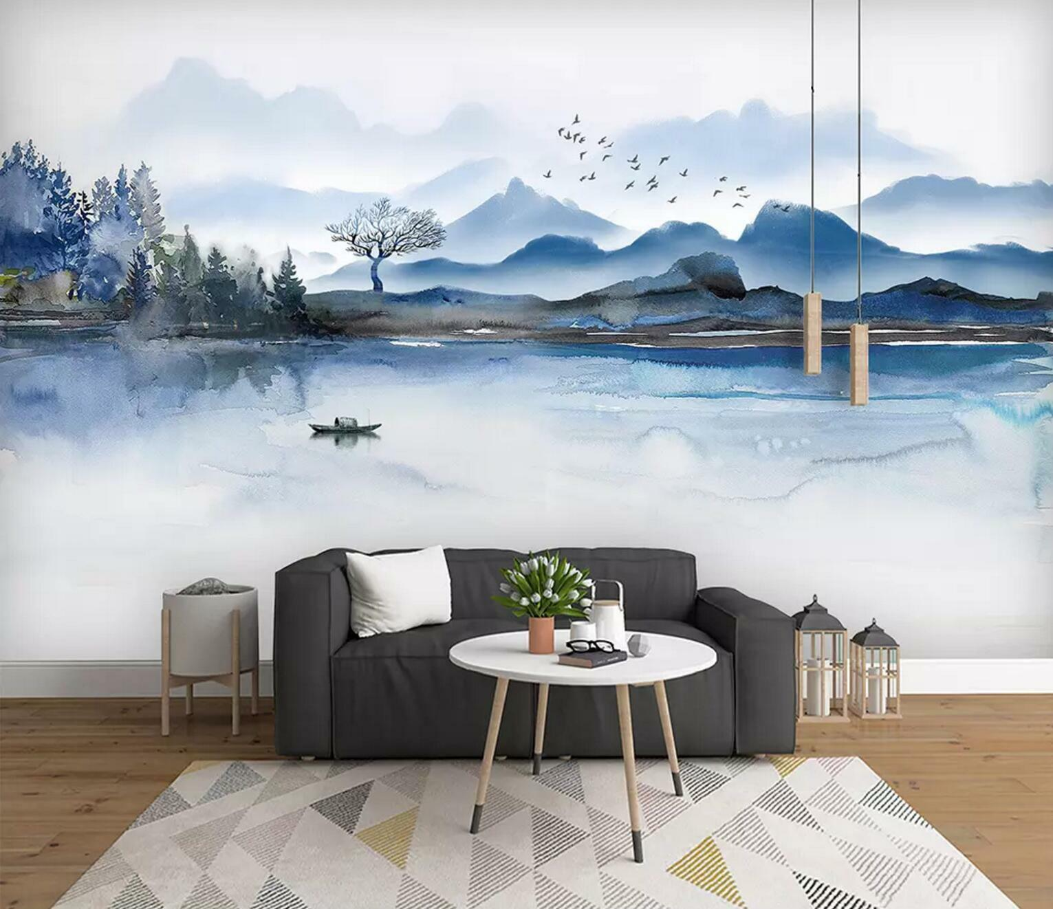 3D Ink Landscape 67 Wall Paper Exclusive MXY Wallpaper Mural Decal Indoor wall